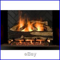 Vented Design Log Set 24-Inch 7-Pcs Natural Gas Decorative Fireplace Cement Logs