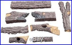 Vented Gas Fireplace Log Set Dual-Burner Heater Decorative Fire Glass/Rocks 24
