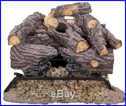 Vented Gas Fireplace Log Set Glowing Embers Heater Decorative Fire Rocks Warmer