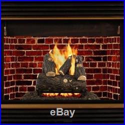 Vented Gas Fireplace Log Set Warmer Decorative Fire Glass Rocks Heater 18 in