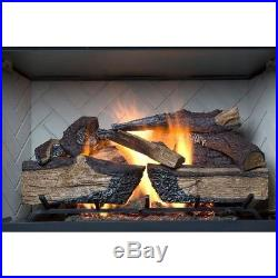 Vented Gas Fireplace Logs 30 in. 60K BTU Variable Flame Optional Remote Control