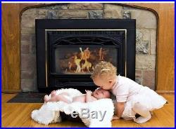 Vented Gas Fireplace Logs 30 in. 60K BTU Variable Flame Pattern Rocks Log Grate