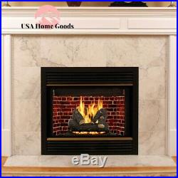 Vented Gas Log Set 24 Willow Oak Realistic Glowing Embers Decorative Fireplace