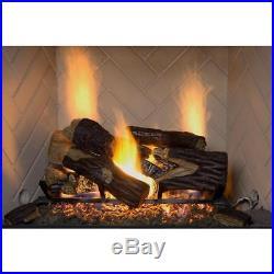 Vented Natural Gas Fireplace Log Set 18 50,000 BTU Burner Insert Fire Grate Oak