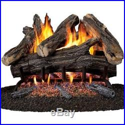 Vented Natural Gas Fireplace Log Set Realistic Flame Fire Place Heater 24 In New