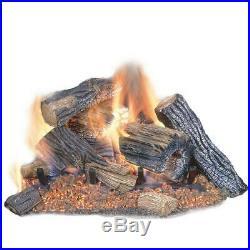 Vented Natural Gas Fireplace Logs Set 24in 60,000 BTU Indoor Realist Chimney Oak