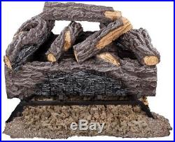 Vented Natural Gas Log Set 50,000 BTU 18 in. Charred River Oak Rustic Style