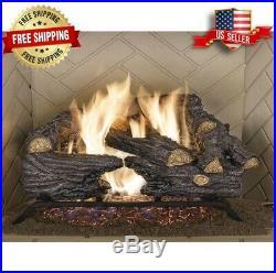 Vented Natural Gas Log Set Fireplace Insert Fire Heater Flu Chimney Indoor Home