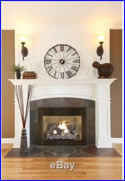 Ventless Gas Fireplace Logs 24 in. Dual Fuel 1300 sq ft Heat Capacity Thermostat