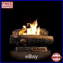 Ventless Oakwood Fireplace Natural Gas 24 in. Logs Manual Control Heating Flame