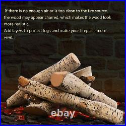 White Birch Wood Logs Set for Gas Inserts Vented Propane Fireplaces Fire Pit